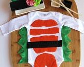Sushi Baby Costume With Headband, Baby Photo Prop, Baby Halloween Costume, Long Or Short Sleeve Sushi Costume