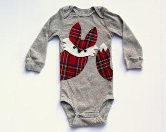 Woodland Fox, Fox Bodysuit, Plaid Fox One Piece, Fox Baby, Fox Shirt, Fox Bodysuit