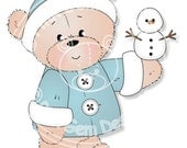 Digital (Digi) Barclay with Snowman  Stamp. Makes Cute Christmas Cards. Teddy Bear