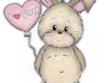 Digital Digi Stamp Some Bunny Loves You  - Birthday, Valentines, Mothers Day, Love