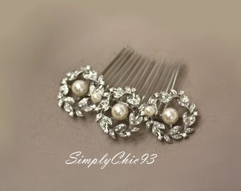 Greek Style Hair Comb- Bridal Hair Accessories, Bridal Comb, Wedding, Victorian Style, cubic Zirconia comb, pearl comb, flowers, leaves