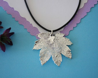 SALE Leaf Necklace, Silver Maple Leaf, Real Leaf Necklace,Silver Full Moon Maple Leaf Pendant, SALE114