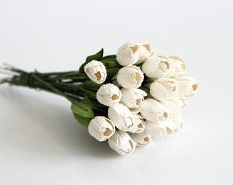 50 pcs - White Tulips paper flowers - Wholesale pack
