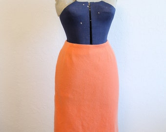 NOS 1950s 1960s Coral or Salmon Pink Wool Pencil Skirt by Stevens Fabric Size SMALL