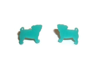 Pug Earrings, Mint Green Small Dainty Cute Kawaii Dog Stud Earrings, Pastel, Animal Jewelry