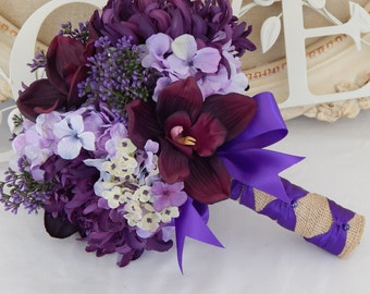 Purple Wedding Bouquet- Orchid Bridal Bouquet- Purple and Lavender Bouquet- Ready To Ship