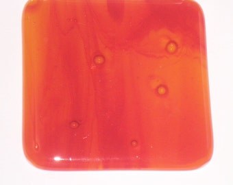 Fused Glass Coaster - Orange and Red Streaky