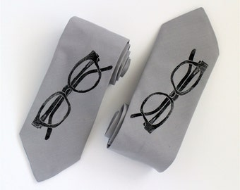 Hipster Glasses Tie - Grey Handmade Spectacles Tie