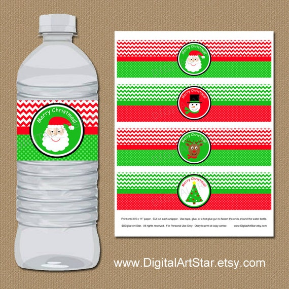 Christmas Water Bottle Label Template Kids Christmas Party