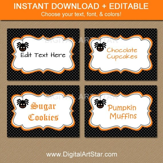 halloween labels buffet cards dessert table by digitalartstar
