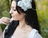Ivory Bridal Headpiece Ivory Silk Flower and Moonstone Headwrap - Juliette