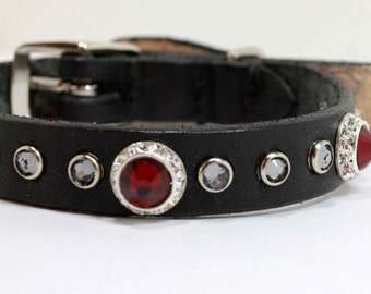 Swarovski Crystal Dog Collar / Rhinestone Dog Collar / Small Dog Collar / Leather Dog Collar / Girl Puppy Collar / Boy Dog Collar