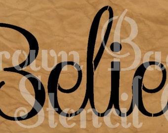 Christmas Stencil - Believe - 7x20-  Christmas Stencil