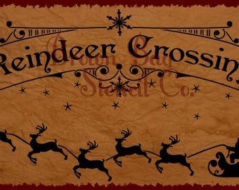 Christmas Sign Stencil - Reindeer Crossing- Various Sizes -  Christmas Stencil