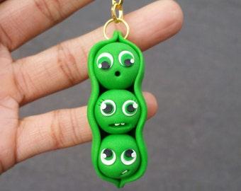 Peas in a pod, polymer clay pea pod, veggie ornament, veggie keychain
