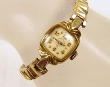 Lady Elgin Wrist Watch - Vintage 14k GF S&W 21 Jewel Ladies Gemex Stretch Band