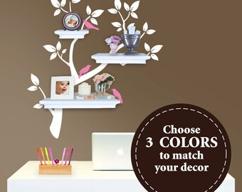 Tree Branch Decal with Birds for Floating Shelves - The ORIGINAL Tree Branch Decal for Shelves - Tree Decals
