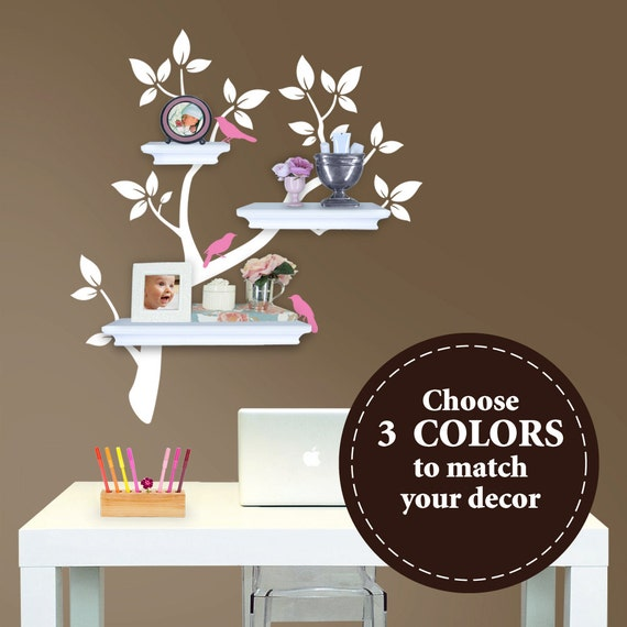 Tree Branch Decal with Birds for Shelves - The ORIGINAL Tree Branch Decal for Shelves -  Home Office Storage - Wall Tree Decals Nursery