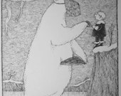 Large Vintage EDWARD GOREY print / poster CHRISTMAS Great Veiled Bear 17th Century poet Polar Bear x-mas Gory ice skates Holiday cookies