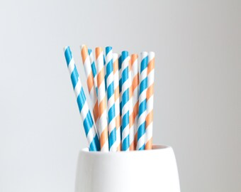 Orange and Blue Striped Mix Paper Straws
