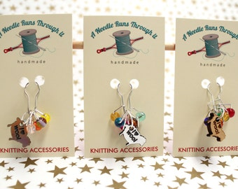 I Heart Wool Stitch Marker set, Featuring Spark Square markers.Choose from Brushed Silver, Brushed Gold or Wood