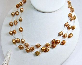 Rosebud Pearl Necklace . Multi Strand . Floating Gold Pearls