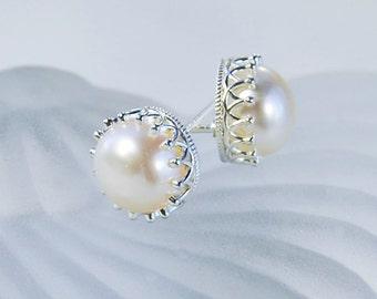 8 mm Pearl Stud Earrings | Silver Crown Setting | White Pearl Post Earrings