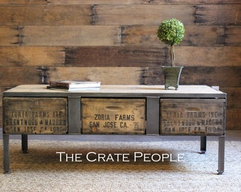 3 Zoria Crate Industrial Coffee table with metal plates - Custom Made Vintage Crate furniture - 100+ yr old Barn Wood