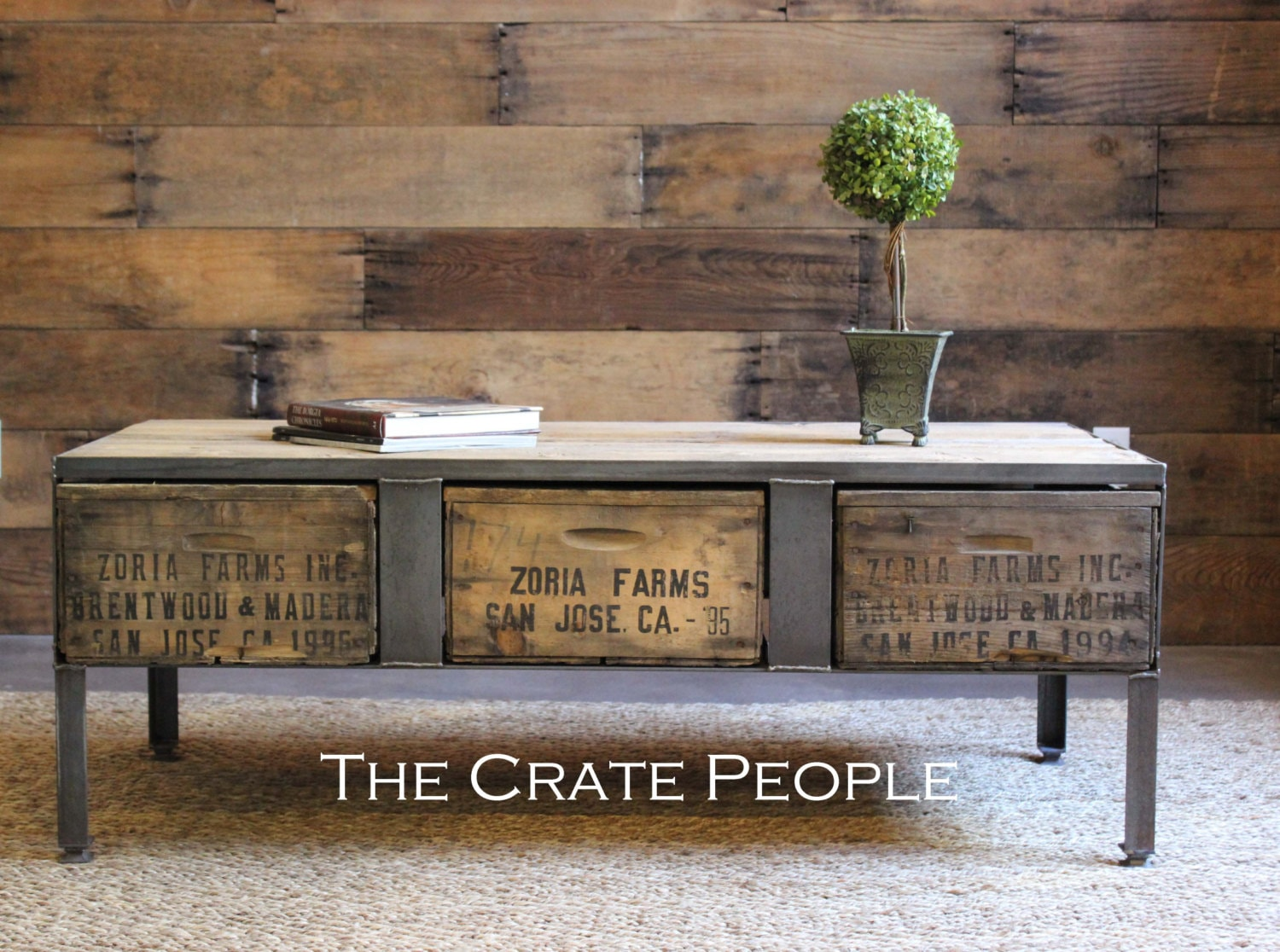 Wooden Crates Furniture : Zoria Crate Coffee table with metal plates by FoundInAttic