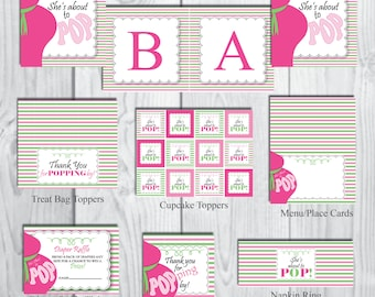 She's About to POP Party Package-Girl Party Package-Baby Shower Party Package-Belly Bump Party Theme-INSTANT DOWNLOAD