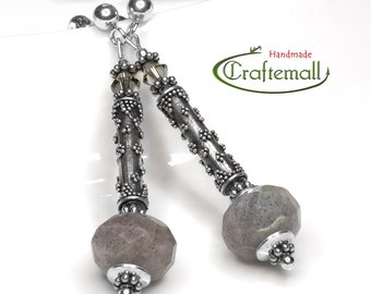 Clearance: Sterling silver earrings with semiprecious stones and Swarovski crystal - Labradorite