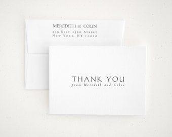 NAVONA Letterpress Thank You Cards - Personalized Wedding Thank You Set - Folded Bulk Order