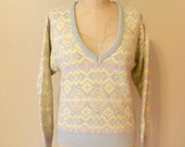 vintage 1980s novelty print wool sweater / size medium