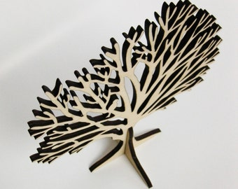 Small Tree Stand with bird - jewellery holder - wood