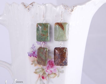 Earrings with green and brown-red rectangle shaped gemstones, very modern, African green opal with sterling silver, fashion earrings