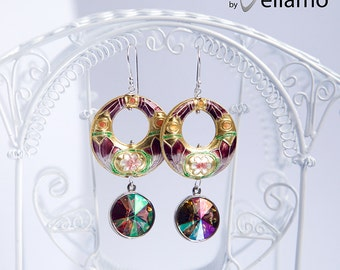 Dangle modern statement earrings with large purple gold cloisonne, sterling silver hooks, Swarovski purple haze crystals, statement earrings