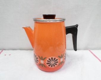 Vintage French Enamelware Coffee pot / Kettle Orange Floral 70s Aubecq w532