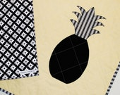 SALE Pineapple Blanket, Modern Baby Quilt Black White and Yellow Baby Shower Gift, Gender Neutral for Boy Girl Free Shipping, Ready to Ship
