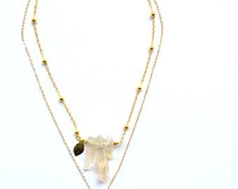 Rainbow Crystal Feather Necklace