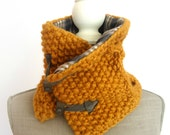 Mustard Yellow Knit Scarf, Plaid Scarf, Winter Scarf, Cowl Scarf
