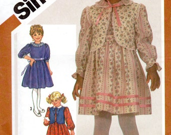 "1980s Girls' Dress with Vest Pattern - Size 6, Breast 25"" - Simplicity 5774 uncut"