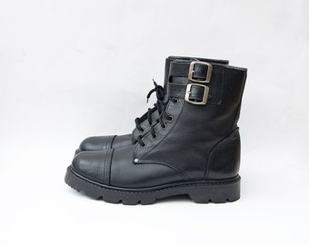 Vintage black leather army lace up women boots EU40