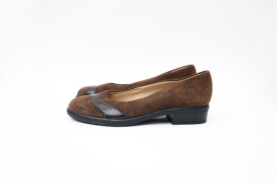 vintage brown suede slip on 90s shoes low heel