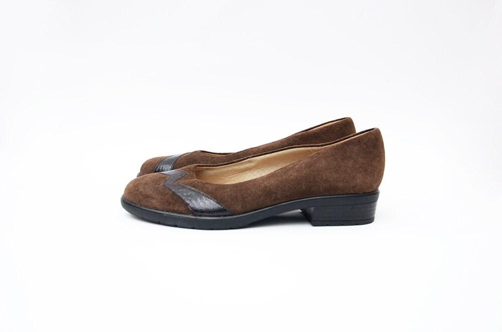 vintage brown suede slip on 90s shoes low heel