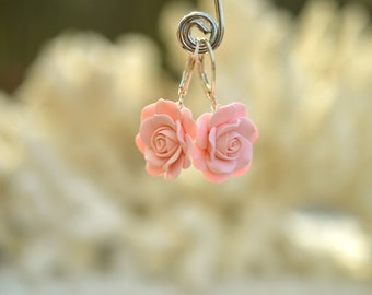 Pastel Blush Rose Earrings, Dusty Pink Rose Dangle Earrings, Pink Rose Shade Earrings, Spring Wedding Jewelry