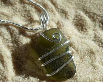 Wire wrapped olive green sea glass necklace with sterling silver chain