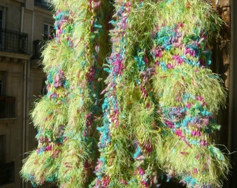 Handknitted coat eccentric fairy luminous colourful gypsy psychedelic vivid fresh rainbow  flowered spring field OOAK FREE SHIPPING