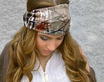 Real Tree Camo Stretchy headwrap,  Boho Hippie Head wrap, A1