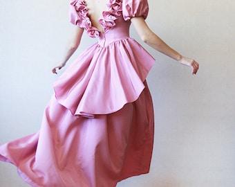 Blush pink taffeta 50s puffed shoulder ruffle princess ball gown maxi dress XS
