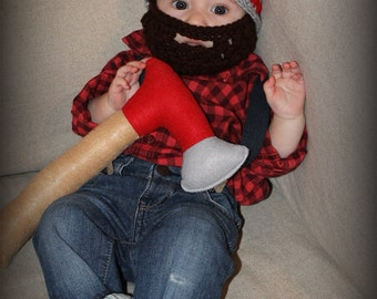 Crocheted Newborn Beard Hat, beard hat, baby with beard custom hat